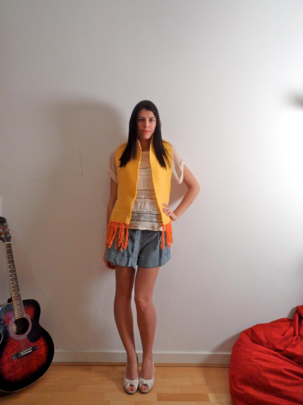 Handmade Knitted Yellow Scarf