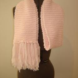 Pink Handmade Knitted Scarf