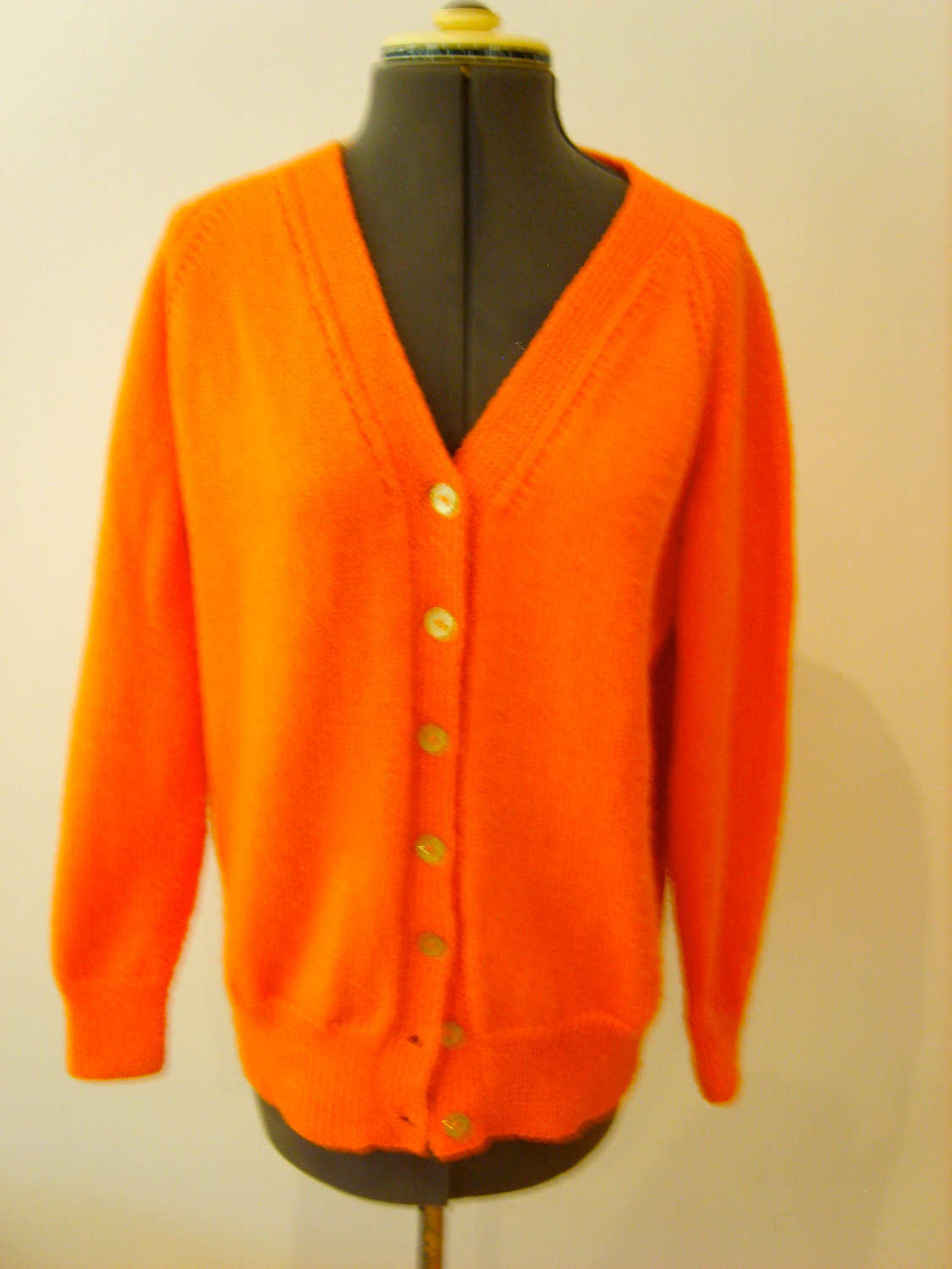 bright orange retro cardigan bright orange retro cardigan by qwerkbox ...
